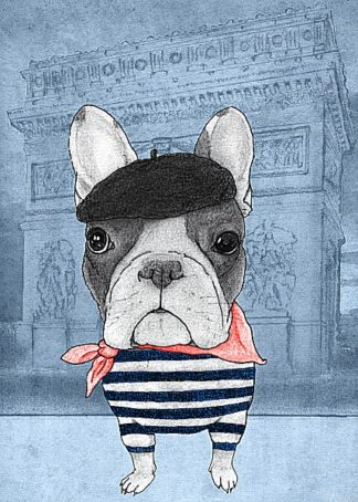 B2958D - Barruf - French Bulldog with Arc de Triomphe