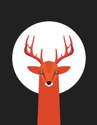 D932D - Dalyan, Volkan - Deer & Moon