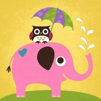 L619D - Lee, Nancy - Elephant and Owl with Umbrella