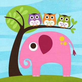 L622D - Lee, Nancy - Elephant with Three Owls