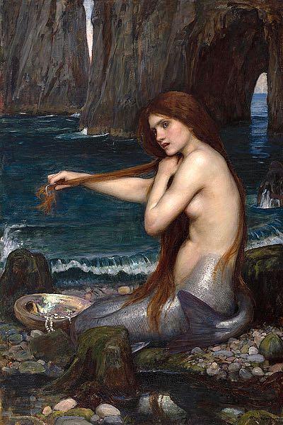 W819D - Waterhouse, John William - A Mermaid