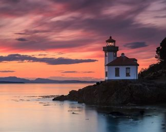 S1594D - Severn, Shawn/Corinne - Orange Sunset at Lime Kiln Lighthouse