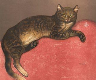 S1638D - Steinlen, Théophile-Alexandre - Cat on a Cushion