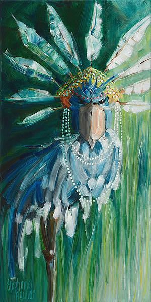A494D - Aguilar, Stephanie - Stork with Feathered Crown