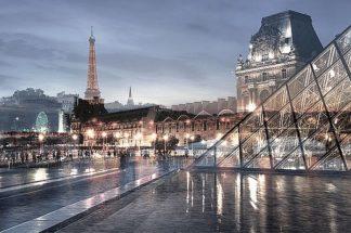 B3648D - Blaustein, Alan - Louvre with Eiffel Tower Vista #1