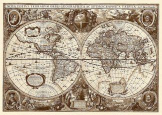 H1066D - Hondius, Hendrik - Nova Totius Terrarum Orbis Tabula (sepia)